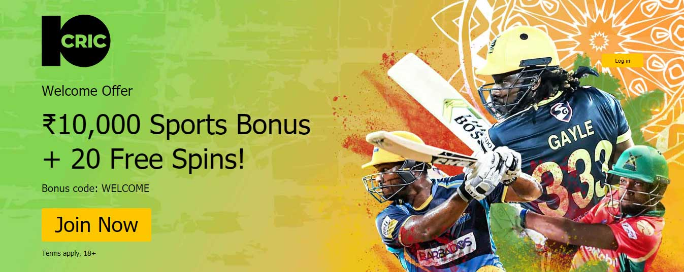 10CRIC - A Welcome Bonus – 100% Up to 10,000 INR